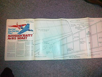 Messerscmitt Me163 Comet Semi Scale Plan For Rc & 049 Motors By P Waters