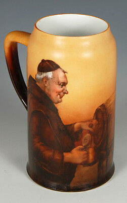 """Antique Hand Painted 6"""" Tankard Handle Mug Monk Pouring Beer from Keg Brown"""