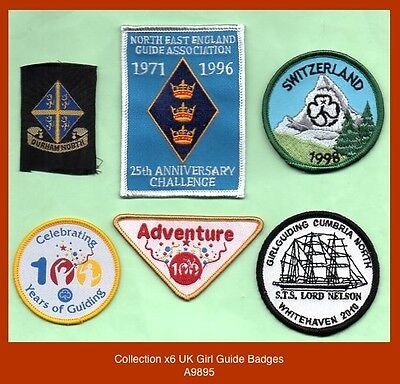 Collecton x6 UK Girl Guide Badges (interesting items)