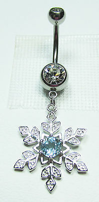Belly Ring Snowflake w/ 1 Diamond & Aquamarine in 925 Sterling Silver