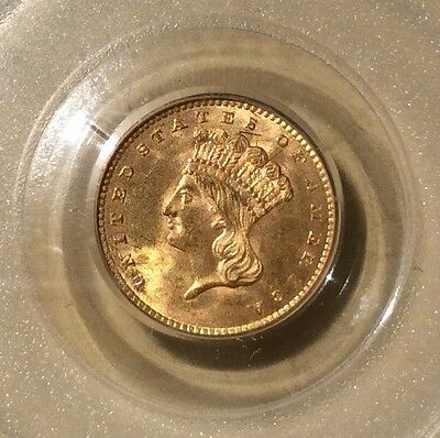 USA America 1856 One Dollar Gold PCGS MS 64 Slanted 5