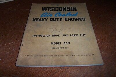 Wisconsin Agn   Engines Instruction Book Parts List