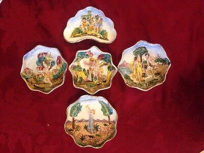 Set Of 5 Capodimonte Wall Plates Plaques Vintage
