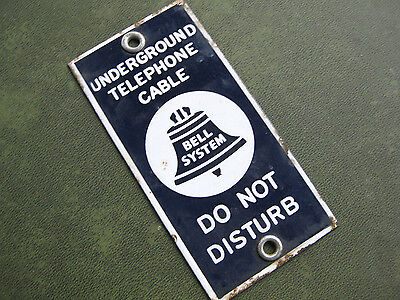 """Vintage Porcelain  """"Bell System"""" Underground Telephone Cable Do Not Disturb Sign"""