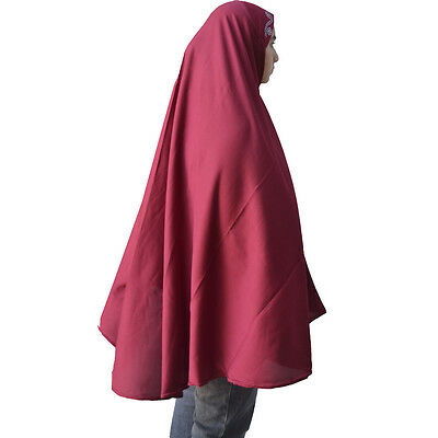 "MAROON Hayaa Long KHIMAR 45"" HIJAB with Rhinestone USA Seller"