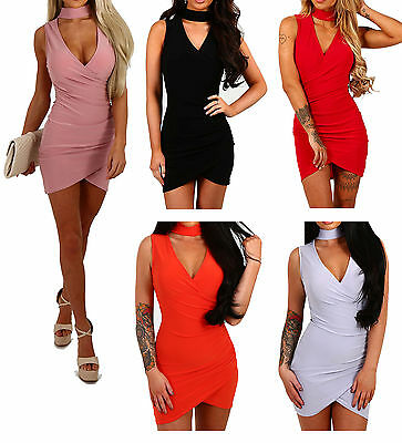 New Womens Ladies Choker V Neck Wrap Over Evening Short Mini Bodycon Party Dress
