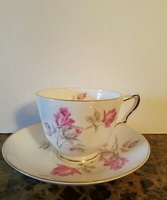 Vintage Crown Staffordshire England Bone China Floral Rose Tea Cup And Saucer