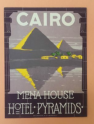Spectacular Luggage label Mena House Hotel Pyramids, Cairo - 1900s  Richter