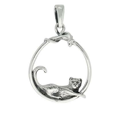 "Sterling Silver CAT & MOUSE Pendant / Charm, 18"" Italian Box Chain"