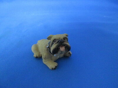 Small English Bulldog Dog Resin Figurine With Spike Collar  Collectible