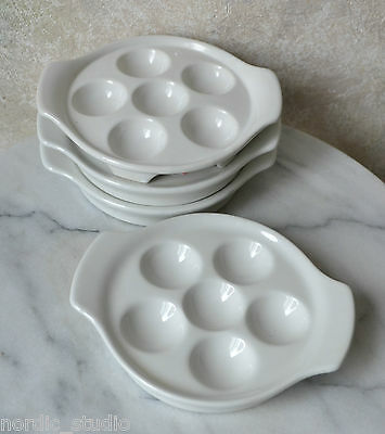 CERAMIC ESCARGOT / MUSHROOM PLATES SET of 4 Bakeware Dishes WHITE glazed