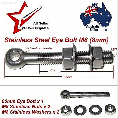 1 X M8 8mm x 60mm 304 STAINLESS STEEL EYE BOLT Nuts & Washers  fastener eye bolt