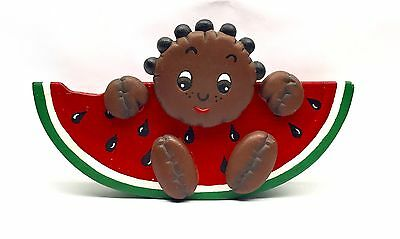 African Americana Black Folk Art Wooden Watermelon With Child Home Decoration