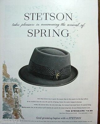 1959 STETSON Mens Hat w Swallow Pin San Juan Capistrano CALIF Mission Print Ad