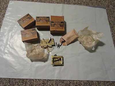 Vintage In Original Box Lot Of 4 Brass Hook Sash Lifts With Screws NOS