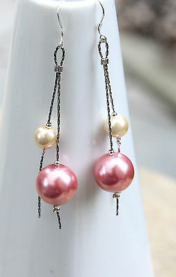 Soft Rose Pink Ivory Glass Pearl Earrings 925 silver hooks new and  handmade