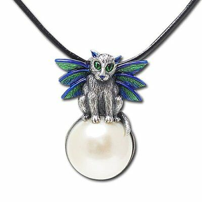 "NEW Carrie Hawks Necklace Bubble Fairy Cat Art Pewter Pendant 18"" Black Cord"