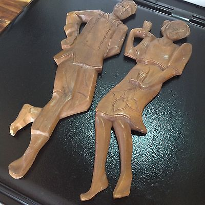 VINTAGE Retro HAND CARVED Wall Hanging DANCING ISLANDER COUPLE Tiki KITSCH