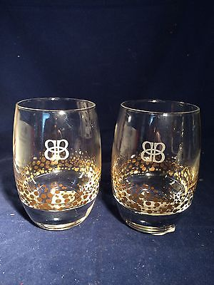 2 Bailey's Rocks Bar Glasses - Rounded - Heavy Base - Etched Bb - Gold Dots -