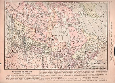 """Antique 1880 Print-Map of Dominion of Canada, including Newfoundland- 10x12"""""""