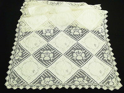 """Antique/Vintage Linen Filet Lace & Hand Embroidery table Runner 22"""" x 17"""""""