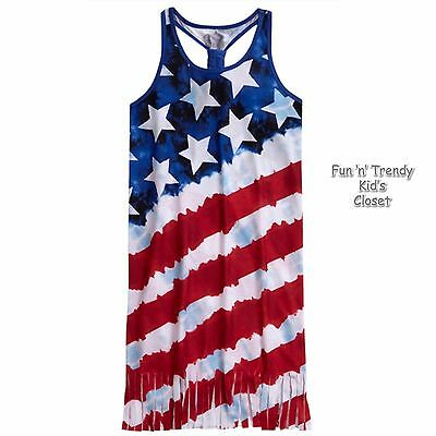 NWT Justice Girls Size 8 10 Stars & Stripes Patriotic 4th of July Nightgown NEW