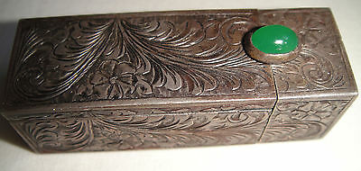 Vintage lipstick holder silver with jade stone and mirror vintage
