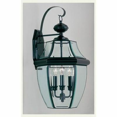 Livex Outdoor Wall Lamp Lighting Fixture, Black, Clear Beveled Glass 3 Lights