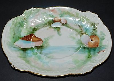 Antique platter small by Elite Limoges France hand-painted seashells