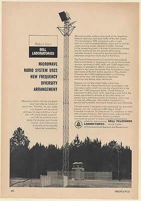 1964 Bell Telephone Labs Microwave Radio System Station Tower Print Ad