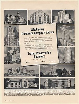 1951 11 Insurance Company Buildings Turner Construction Co Print Ad