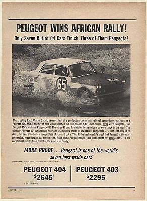 1963 Peugeot 404 Wins African Rally Race Car Photo Print Ad