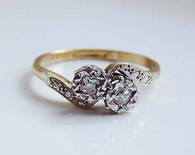 Stunning Vintage 9ct Gold Diamond Two Stone Twist Crossover Ring c1947; Size 'M'