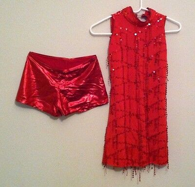 Red Jazz Tap Dance Dress Size Small Adult NWOT Never Worn Fringe Costume