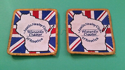 """Pair of 2 7/8"""" x 3"""" Austin Healey Club of America Wisconsin Chapter Patches"""