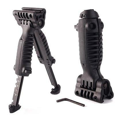 Tactical Vertical Fore Hand Grip Bipod Picatinny Rail Rifle Weaver Adjustable BK