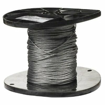 "Galvanized Steel Wire Rope on Reel, 7x7 Strand Core, 1/16"" Bare OD, 500' Length,"