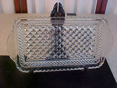 Beautiful Diamond Pattern Designed Double Handled Clear Glass Serving Tray