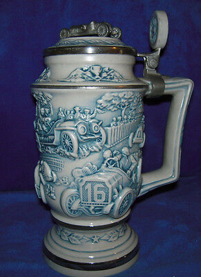 Race Car with Pewter Lid Beer Stein, 1989 - Boxed