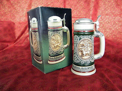 Sporting Ceramic with Pewter Lid Beer Stein, 1978 - Boxed