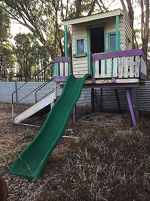 Weatherboard Childrens Cubby House With Slide