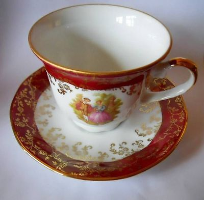 Bavaria German Lovers Handpainted China Cup and Saucer