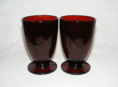2 Vintage Anchor Hocking  Royal Ruby Glass Footed Tall Tumblers