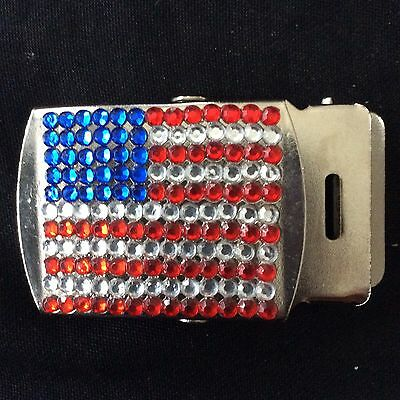 American USA Flag Belt Buckle With Diamanté Detail