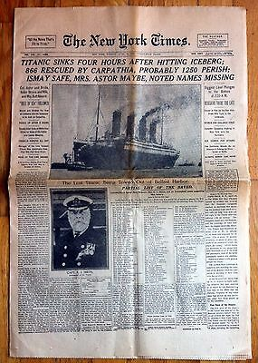 Original: The New York Times: Front Page News Headlines, Vintage Paper 1912-45