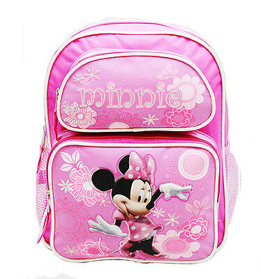 "Disney Minnie Mouse Girls 16"" Canvas Pink School Backpack MN21490"