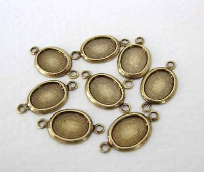 Cameo Setting Antiqued Brass Ox Frame Cabochon Bezel Connector 2 Ring 8x6mm