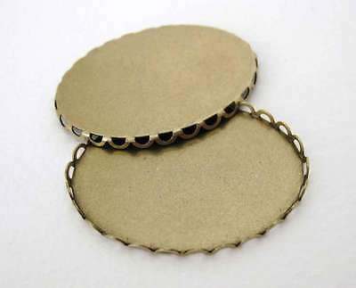Cameo Setting Filigree Lace Antique Brass Cabochon 40x30mm