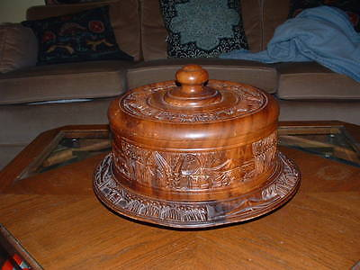 Vintage Hand Carved Wooden Cake Plate With Lid And Lazy Susan Vgc