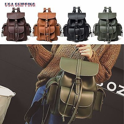 Fashion Women's PU Leather Travel Satchel Shoulder Bags Backpack School Rucksack